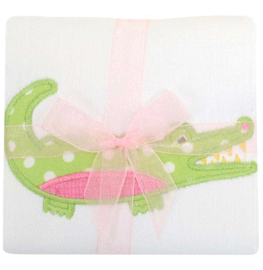 3 Martha's Pink Alligator Appliqued Burp Cloth