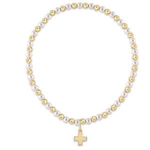 Gold Grateful Pattern 3mm Pearl Bead - Signature Cross Gold Charm