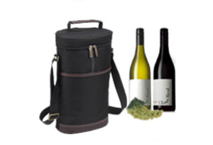 Two Bottle Insulated Wine Tote - Black or Navy