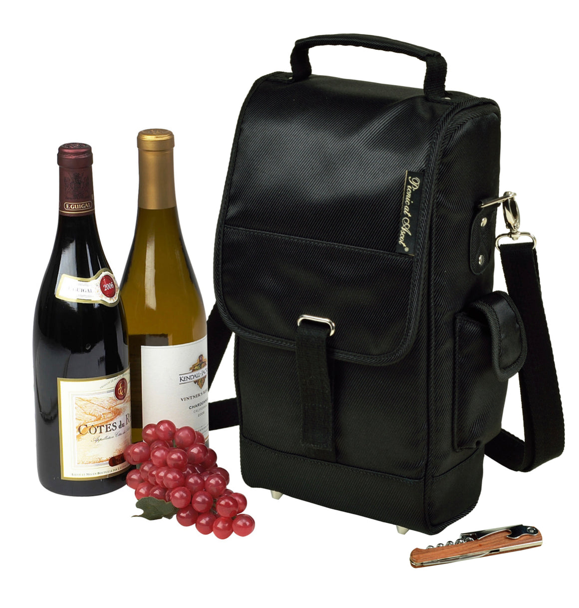 Napa Two Bottle Insulated Wine Tote with Cork - Black