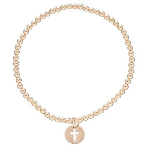 E Newton Gold 3mm Bead and Blessed Charm Bracelet