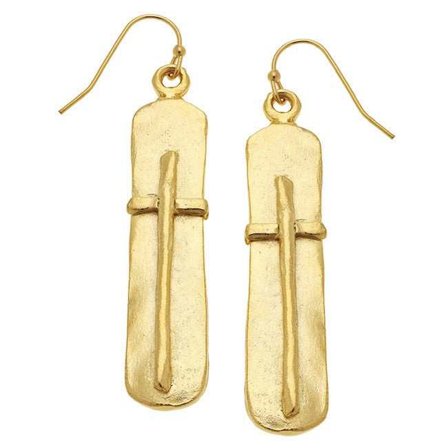 BAR CROSS EARRINGS - Gold