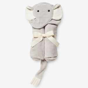 HOODED GRAY ELEPHANT BABY BATH WRAP