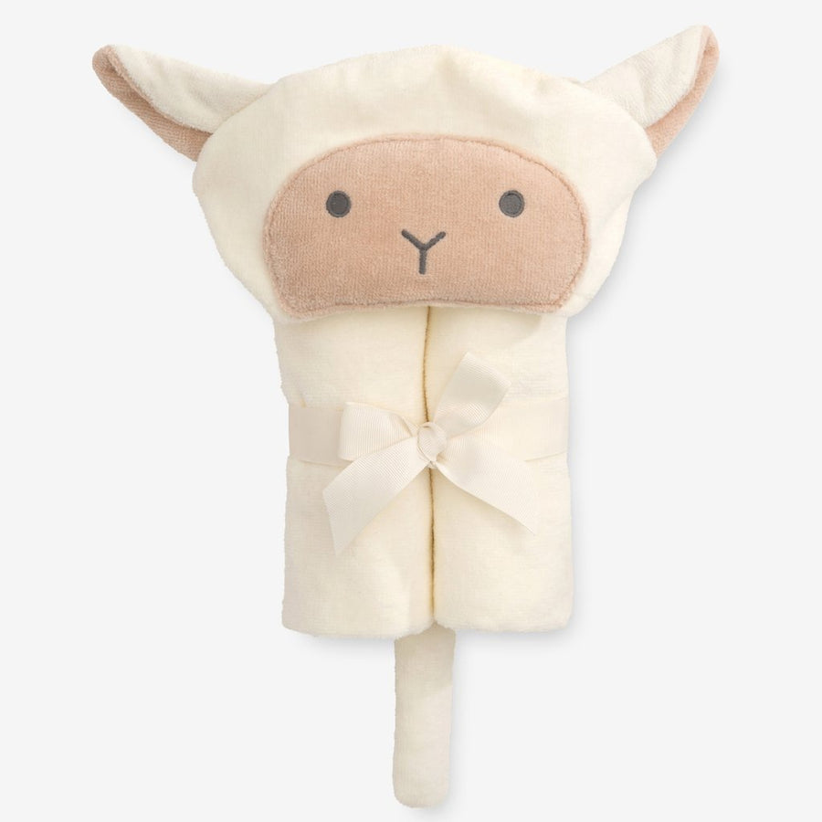 HOODED BABY BATH WRAP CREAM LAMBIE