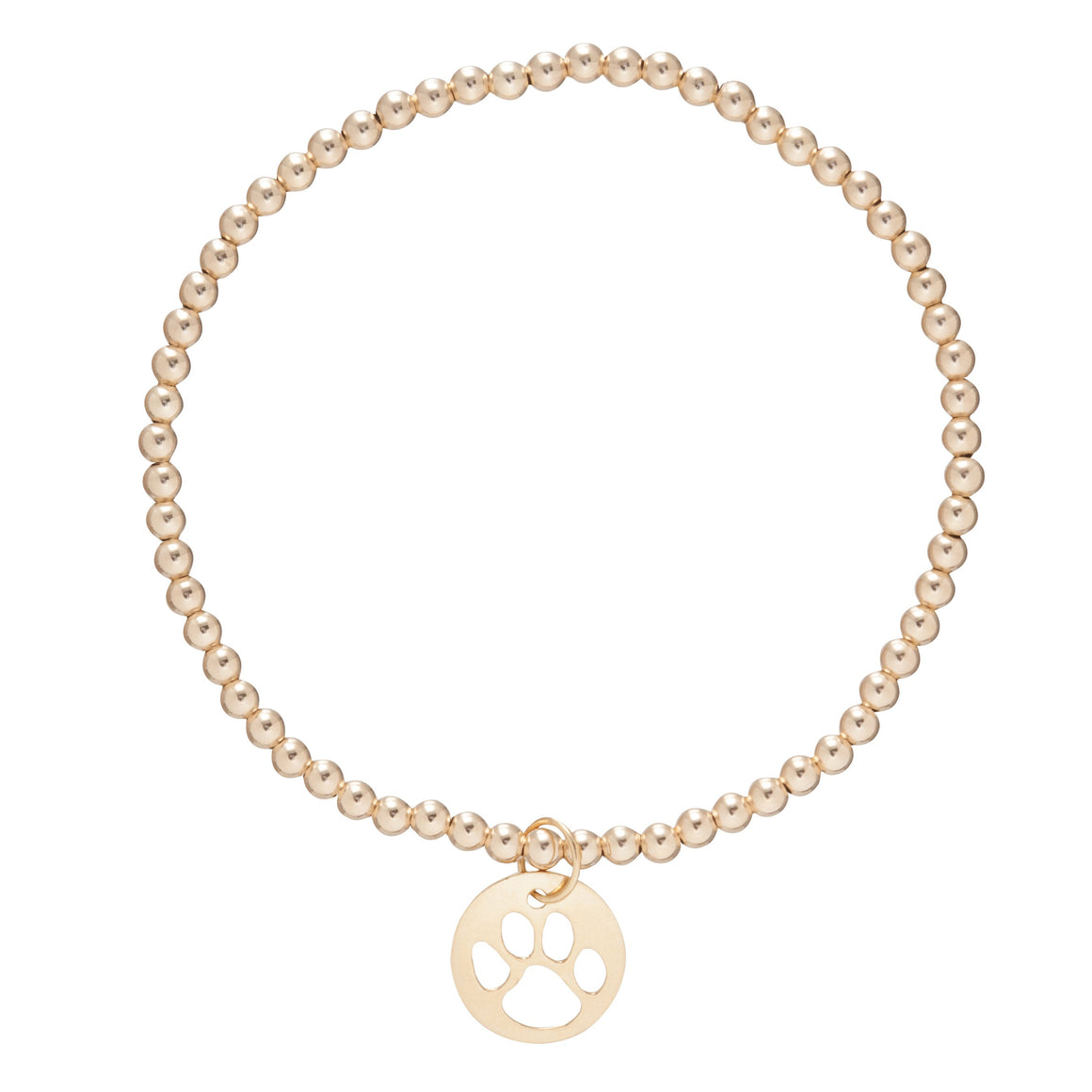 enewton Gold 3mm Bead and Paw Print Charm Bracelet