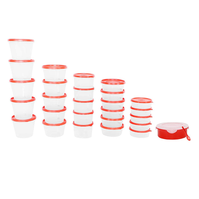 Air-Tight Kitchen Storage Containers (Cherry Red) -26 Container + 1 Masala Box Set of 27