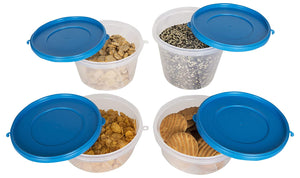 SuperSturdy Eco Plastic Container Set, 4-Pieces (1000ml, 750ml, 2X500ml), AirTight Plastic Food Container