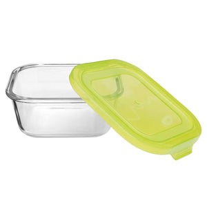 Flexi Borosilicate Square Glass Food Container with Lid Green (2, 520ml & 850ml)