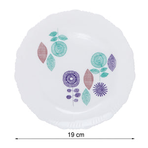 Cutting EDGE I-Cant-Believe-Its-Plastic - Porcelain Look Ultra Light Plastic Side Plate | Breakfast Plate | Half Plate Exotic Floral Design Set of 6 Half Plate