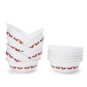 Cutting EDGE I-Can't-Believe-Its-Plastic™ - Porcelain Look Ultra Light Plastic Bowl | Curry Bowl | Medium Bowl – Exotic Floral Design Print – Set of 12 Plastic Dessert Bowl  (Brown, Pack of 12)