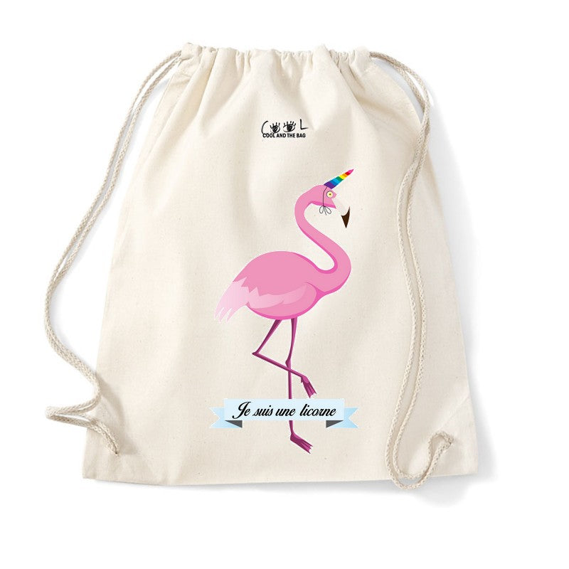 sac à dos cordelette flamand rose
