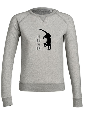 sweat shirt femme original saut de chat