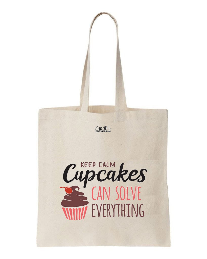 tote bag Keep Calm, Cupcakes can solve Everything