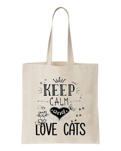 tote bag Keep calm and love cats