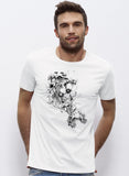 T-shirt blanc Homme Flowers Blow