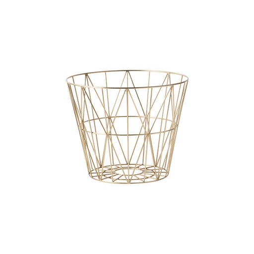 ferm Living Wire kurv - Messing - Medium-Designfund.dk