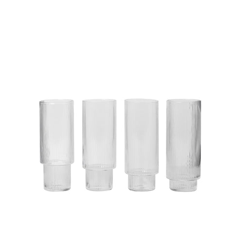 ferm Living Ripple Long Drink glass - 4 stk-Designfund.dk