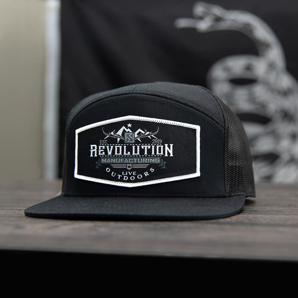 Live Outdoors 7 Panel Trucker Hat | Black-Black