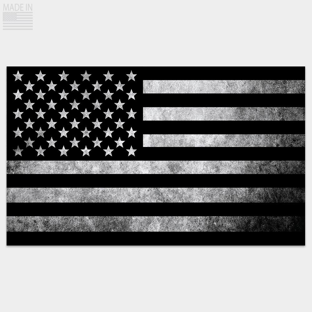Black & Gray distressed American flag sticker