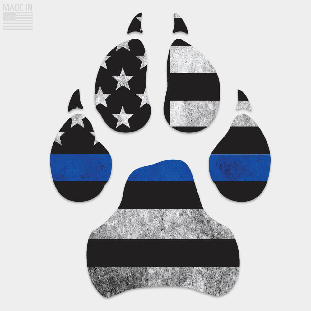 Thin Blue Line Dog Paw Decal
