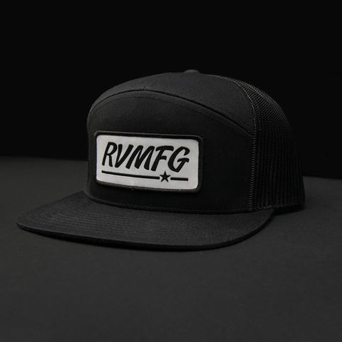 RVMFG 7 Panel Trucker Hat | Black