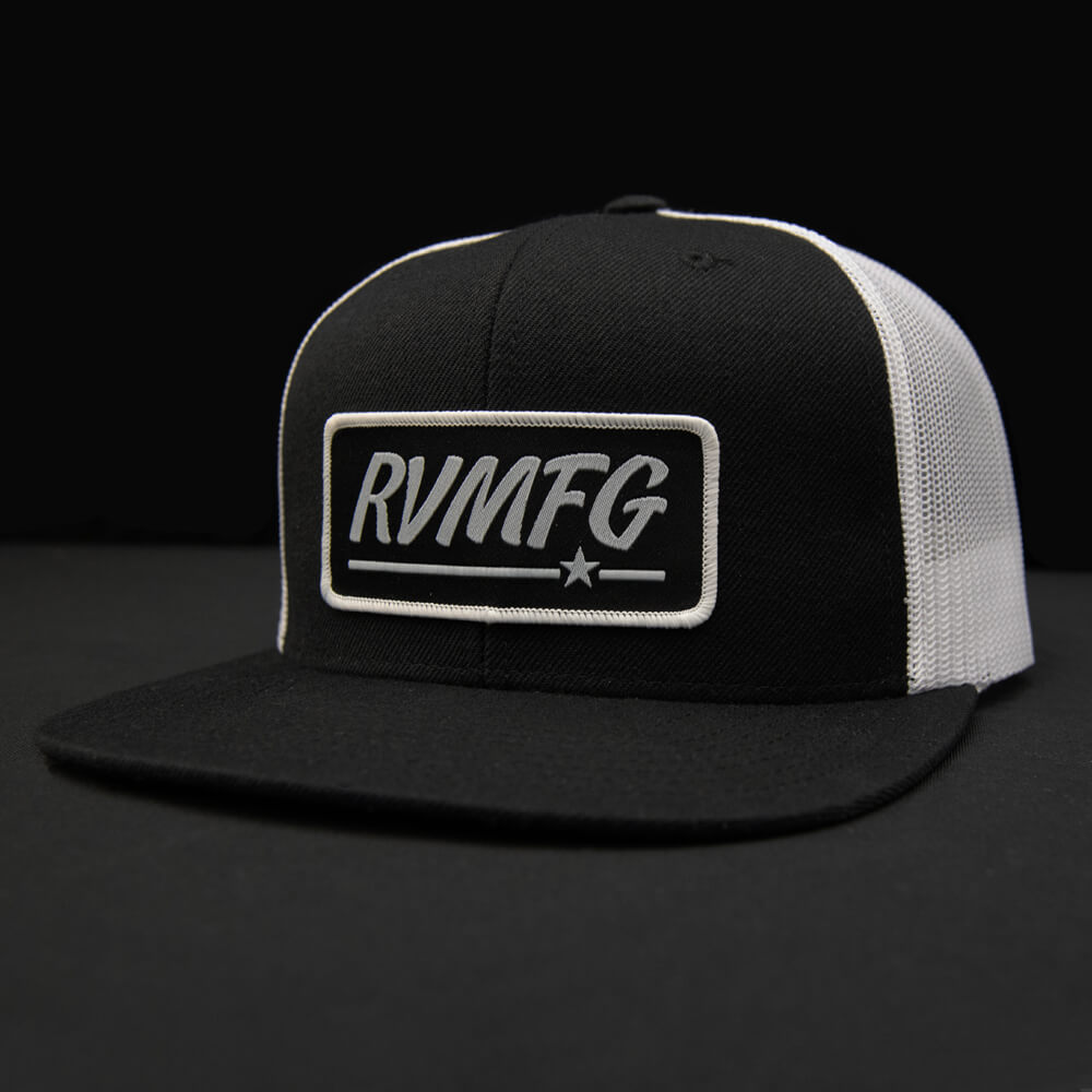 Black-White flat bill trucker hat with Black RVMFG patch