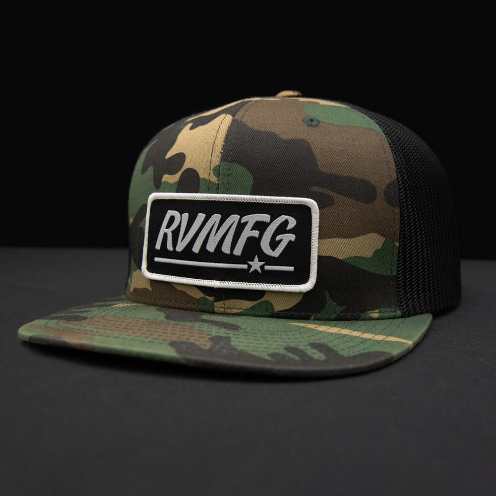 Woodland-Black flat bill trucker hat with Black RVMFG patch
