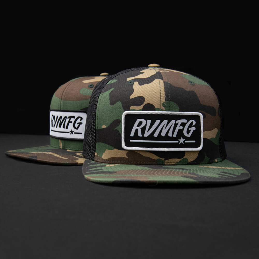 Woodland Camo wool with black mesh Flat Bill Trucker hat with white and black RVMFG woven patch hats