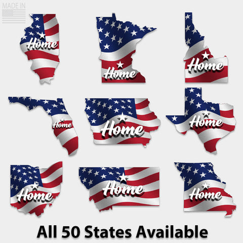 Home State American Flag Sticker