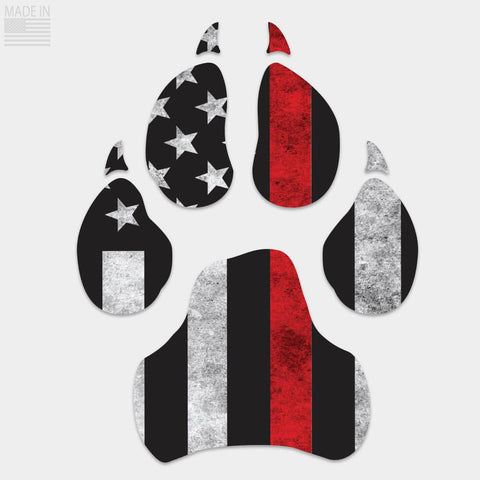 Thin Red Line Dog Paw Decal