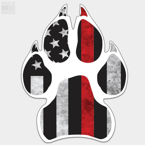 Thin Red Line Dog Paw Sticker