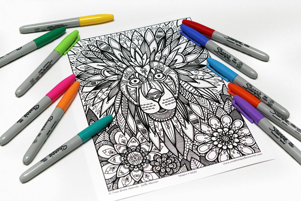 Dessin #9439 Mandala à colorier imprimé sur carton, animal, LION