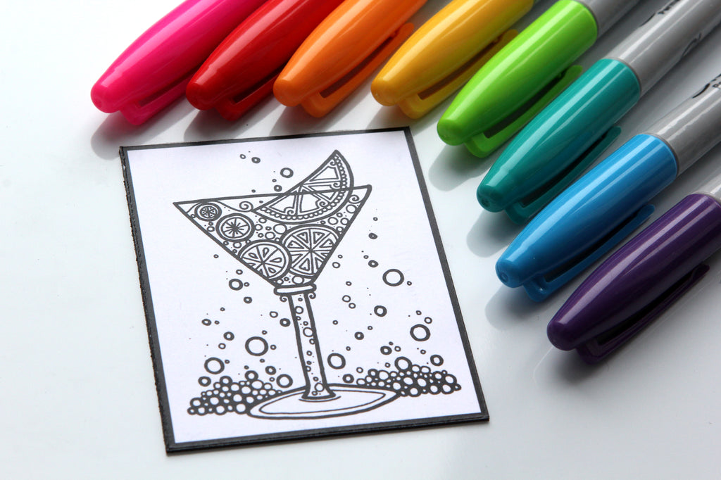 Aimant à colorier, COCKTAIL aux AGRUMES