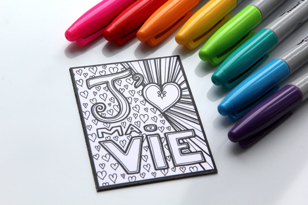 Aimant à colorier, J'aime MA VIE, phrase positive, motivation