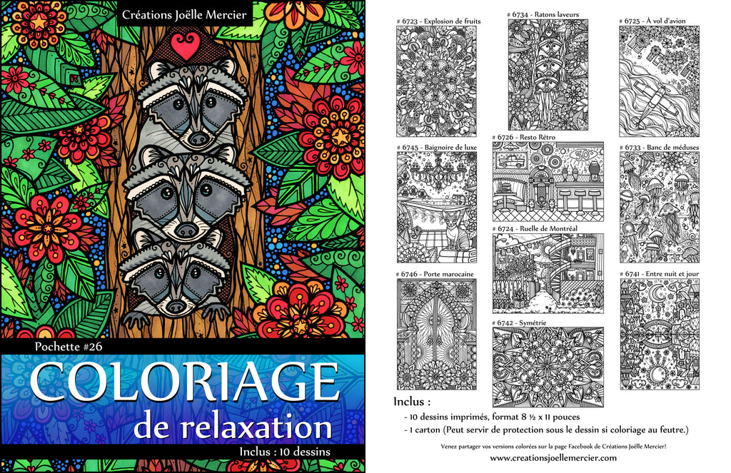 Pochette #26 - 10 dessins - Coloriage de relaxation - Ratons laveurs, méduses, chats, avion, fruits...