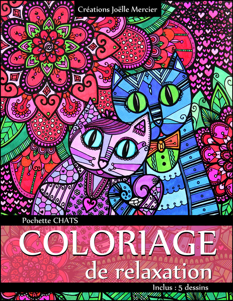 Pochette CHATS #1 - Coloriage de relaxation - 5 dessins