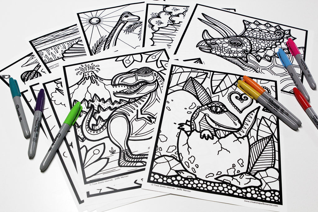Lot de 15 dessins à colorier, DINOSAURES, format 8,5x11 pouces
