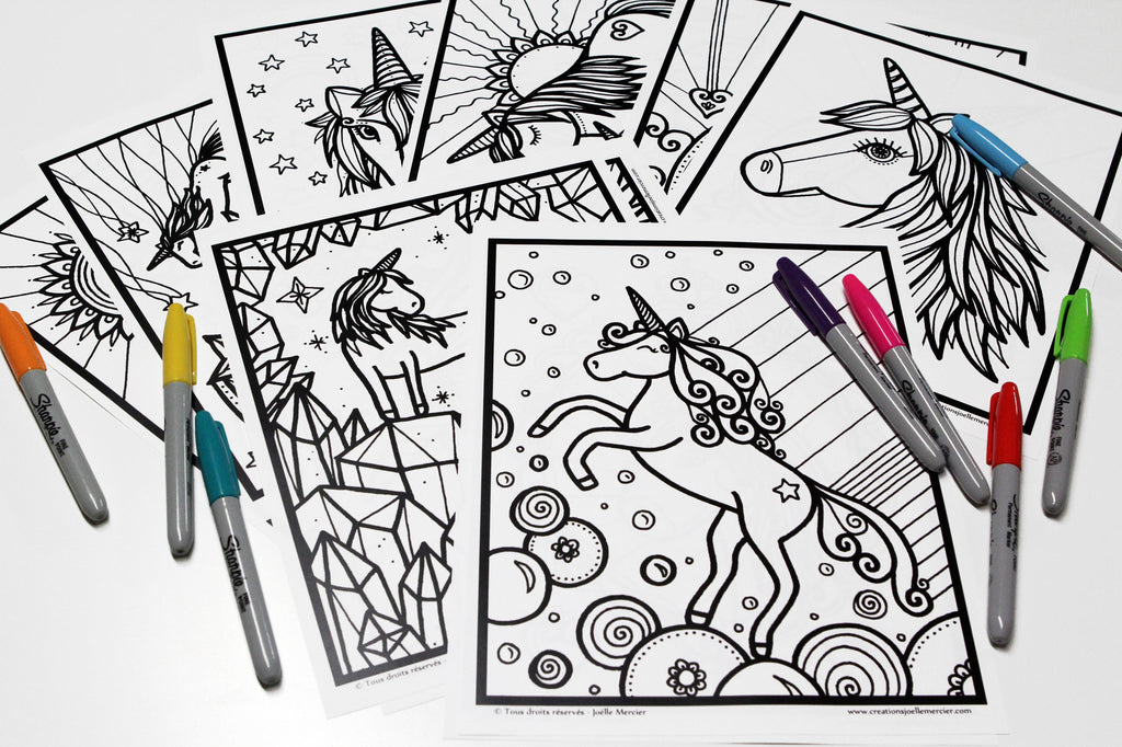 Lot de 15 dessins à colorier, LICORNE, format 8,5x11 pouces