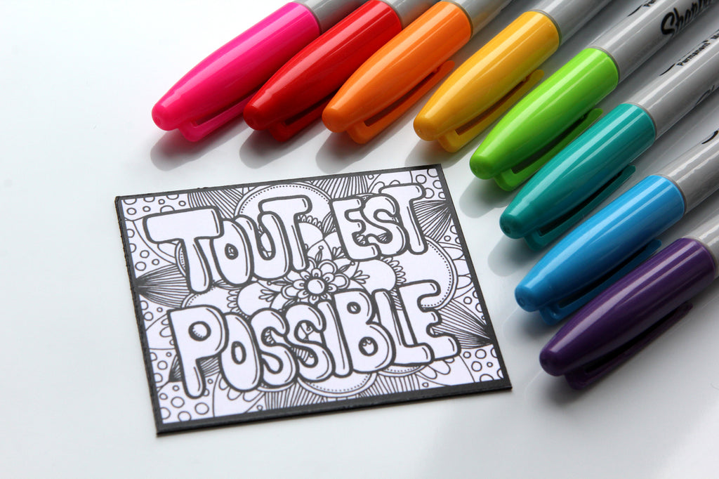 Aimant à colorier, TOUT EST POSSIBLE, phrase positive, motivation