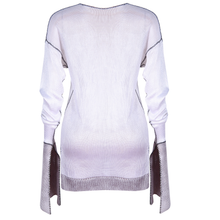 Load image into Gallery viewer, WHITE AND GREY SILKY KNIT JUMPER