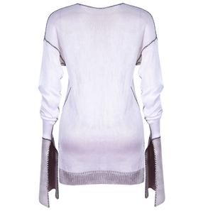 WHITE AND GREY SILKY KNIT JUMPER