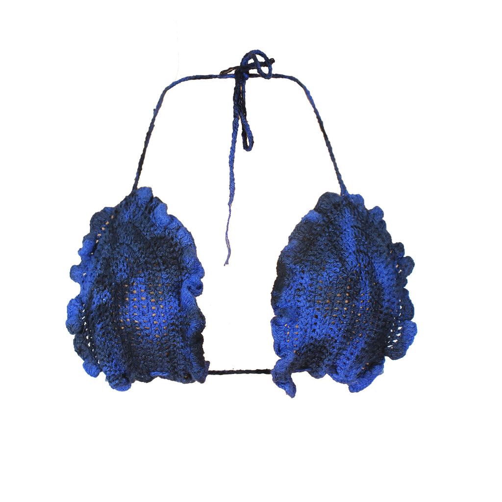 HANDDYED BLUE FRILLED EDGES CROTCHET BRA