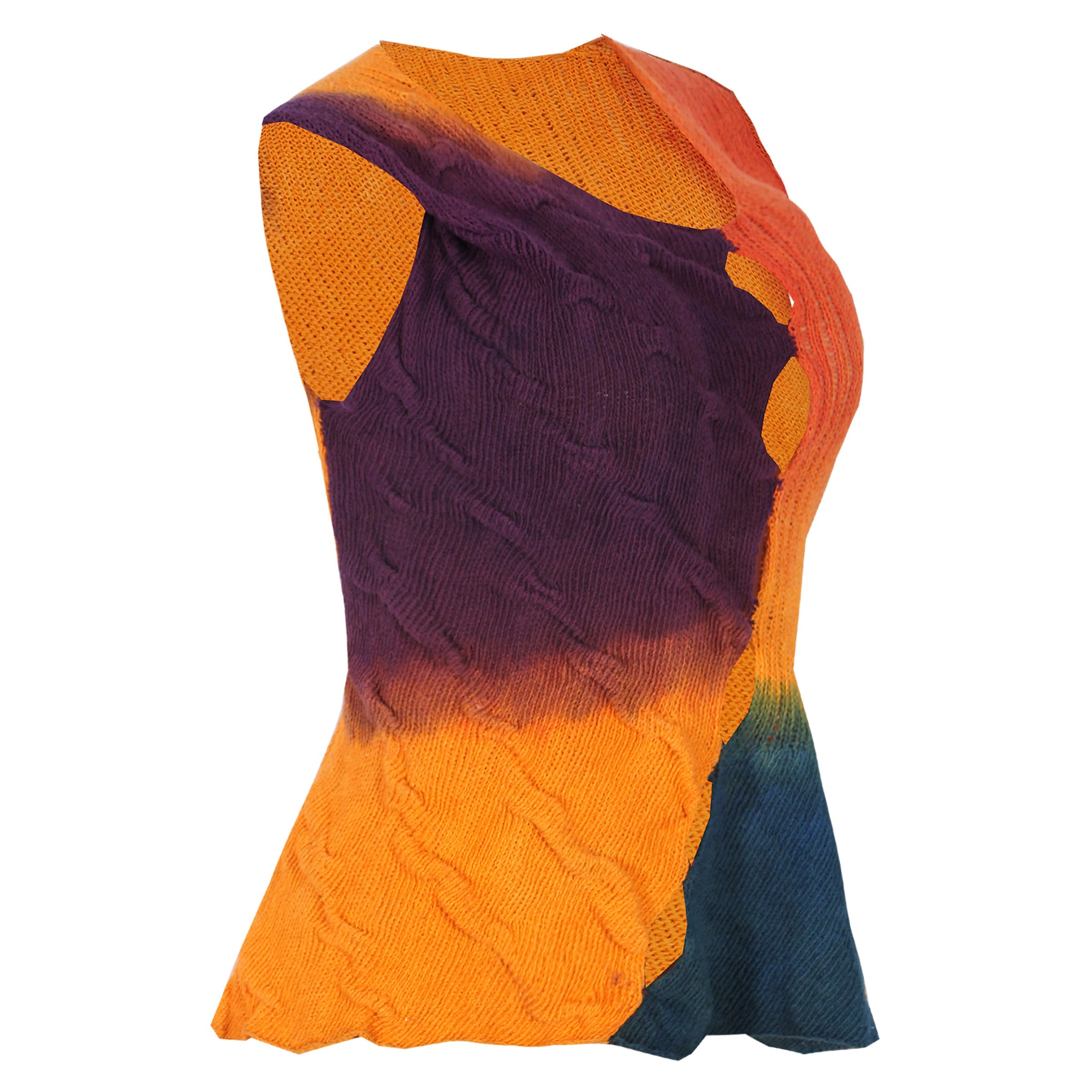 HAND DYED MULTICOLOUR COTTON KNIT VEST