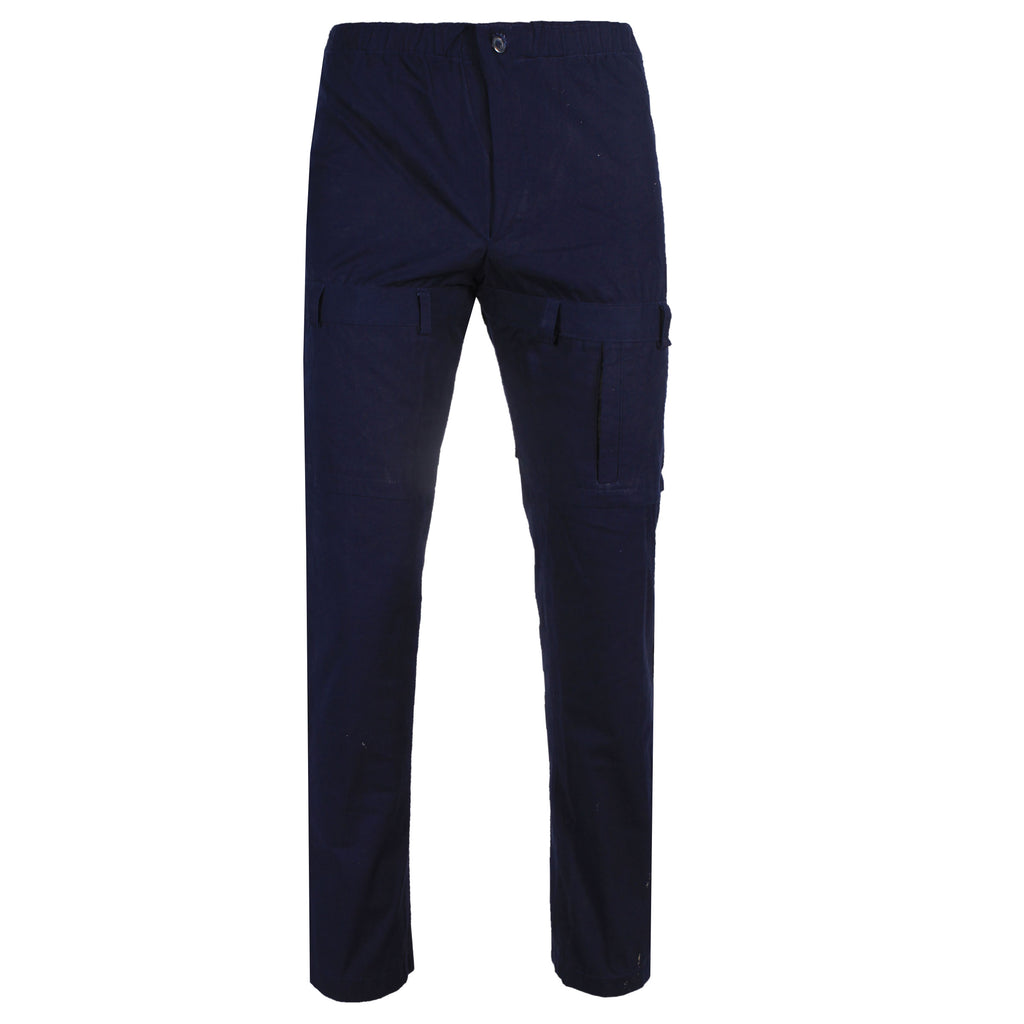 COTTON NAVY BLUE PANT WITH THIGH BELT HOLE LATCH DETAIL