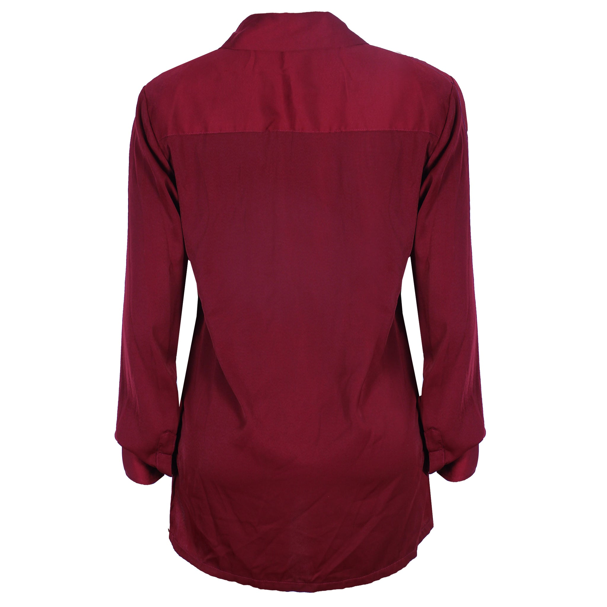 BURGUNDY SILK SATIN SHIRT