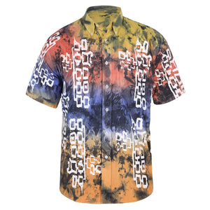 HAND DYED MULTICOLOUR COTTON SHIRT WITH SILKSCREEN PRINT