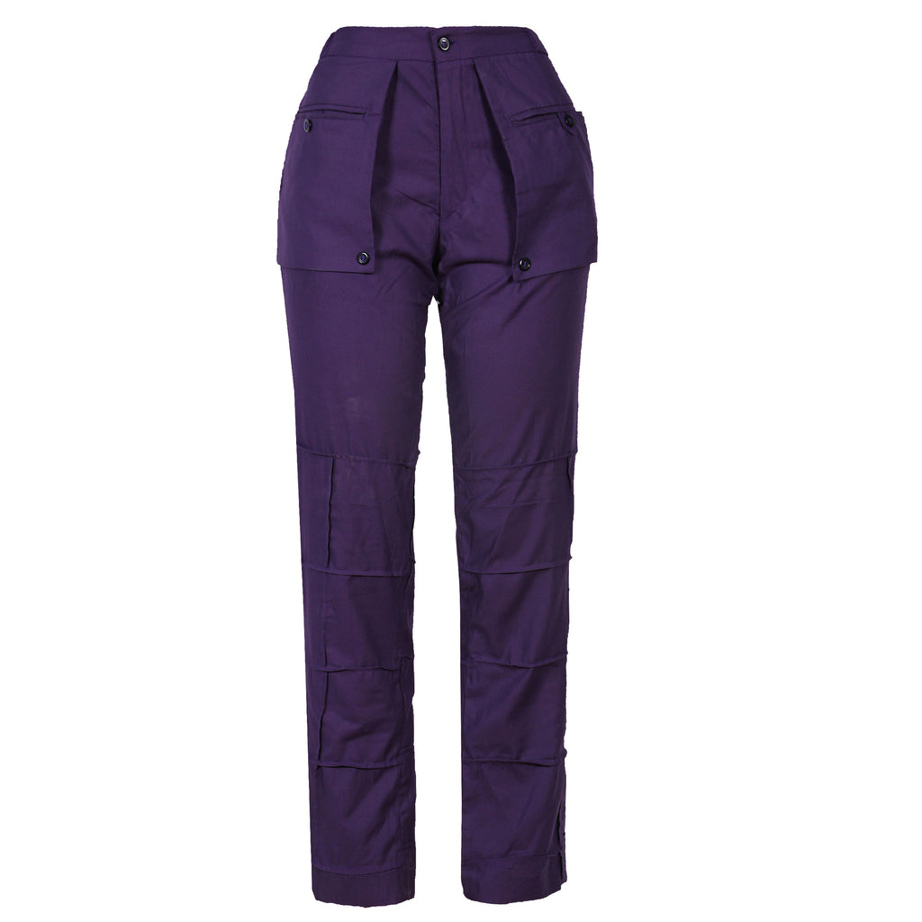 COTTON PURPLE PATCHWORK WITH EXTENDED POCKETS PANT