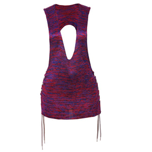 HANDMADE SILK RAYON KNIT SINGLET WITH CUT OUTS AND SIDE LACE DETAILS