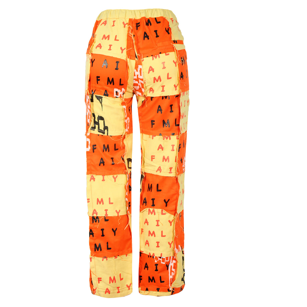 ORANGE AND YELLOW SILKSCREENED PATCHWORK COTTON PANT