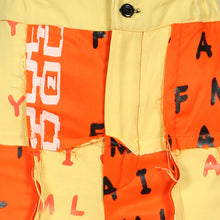 Load image into Gallery viewer, ORANGE AND YELLOW SILKSCREENED PATCHWORK COTTON PANT